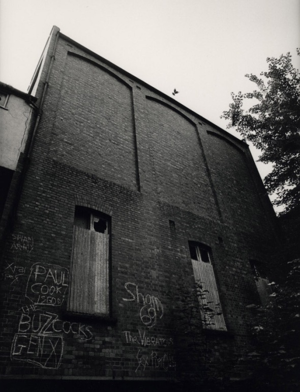 Pigeon above abandoned theatre, Surrey, July 1978