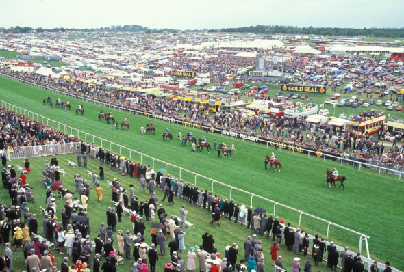 Runners on their way to the start, Derby Day, Epsom, Uk, 1991.