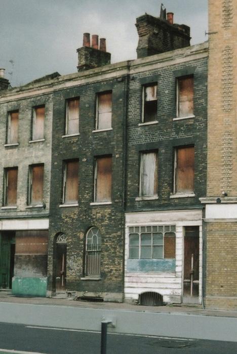 Burned Georgian houses in Borough, London, 2010.