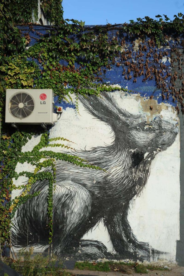 ROA rabbit, east end, London, 2014