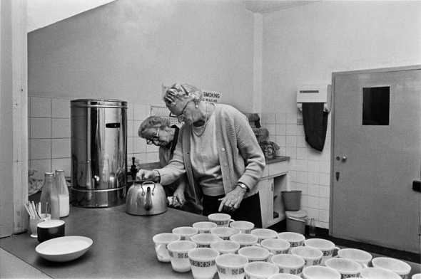 Tea time at an old peoples' club in Tower Hamlets 1975