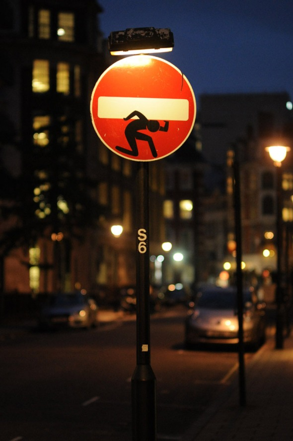 Altered sign, Lincoln's Inn, London, 2014.