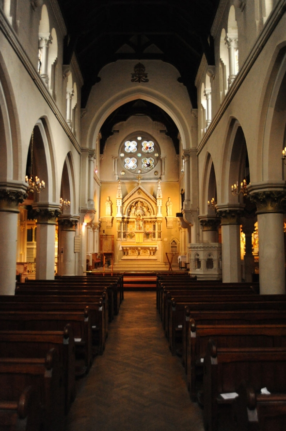 Interior of the Catholic church of Corpus Christi in London's Co