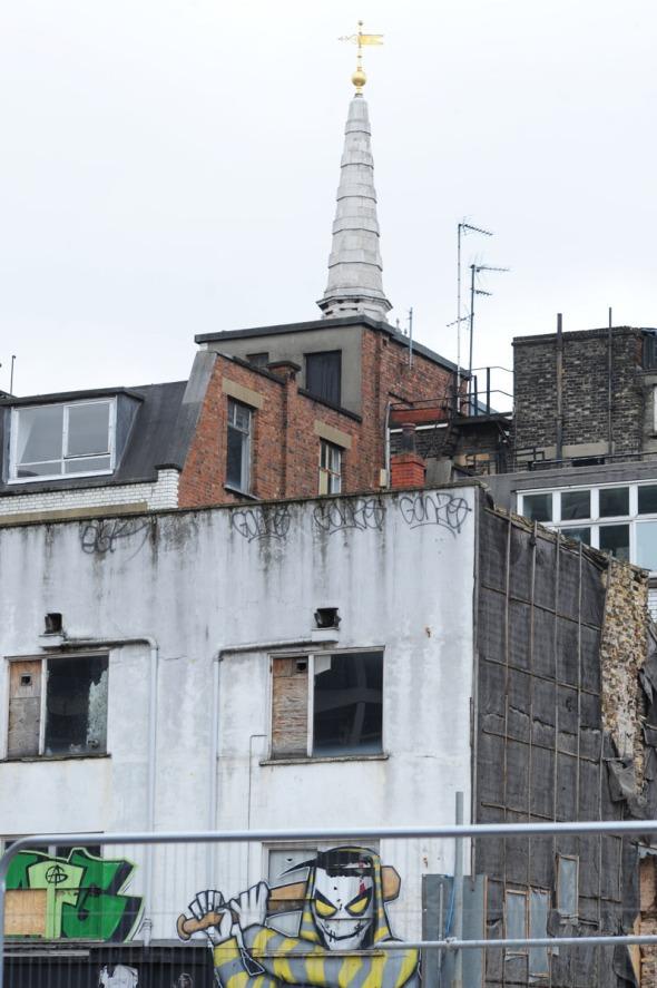 Graffiti on doomed buildings on Denmark Place, behind Denmark St