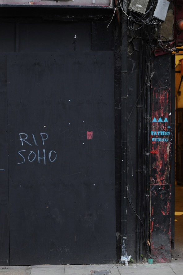 Graffiti on the hoarding in front of the old 12-bar Club, Denmar