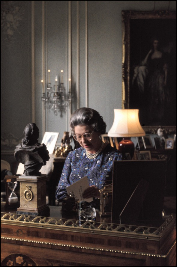 HM the Queen at her desk, Buckingham Palace, Feb.1991