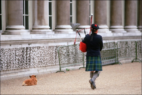 Piper playing a morning serenade at Buckingham Palace.